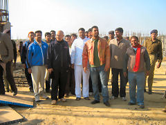 M S Dhoni at the construction site of JSCA Stadium at Ranchi